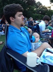 Baby and Greg, watching Amy Lavere play.