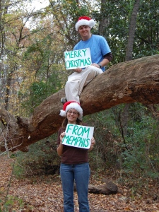"The back of our first Christmas card said ""Merry Christmas from the Old Forest!"""